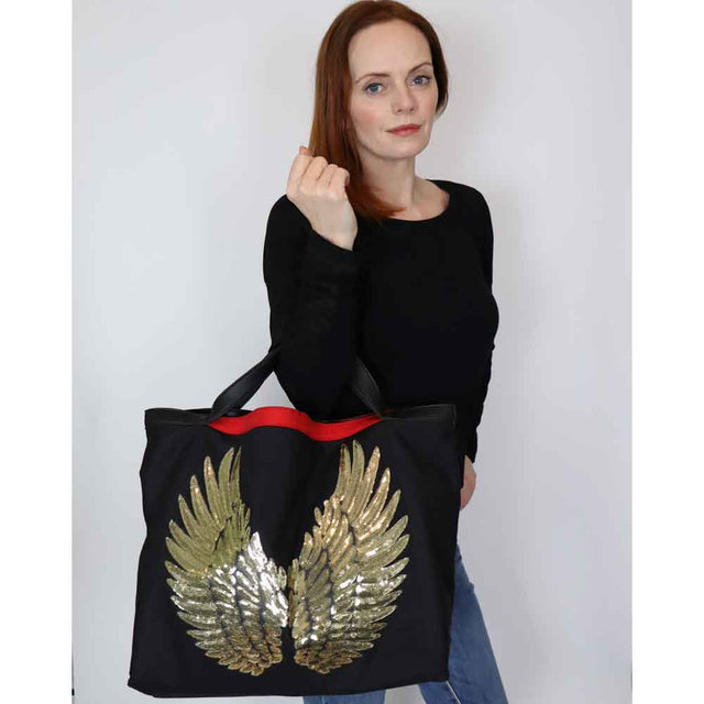 "Black Tote ""Gold Angel Wings"""