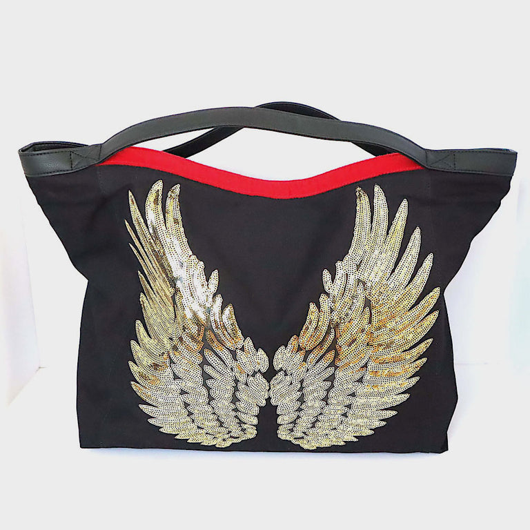 "Black TOTE Bag ""Angel Gold Wings"""