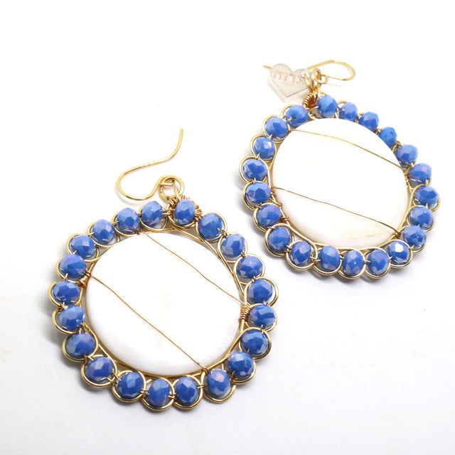 Gold Plated Blue Nacar Drop Earrings