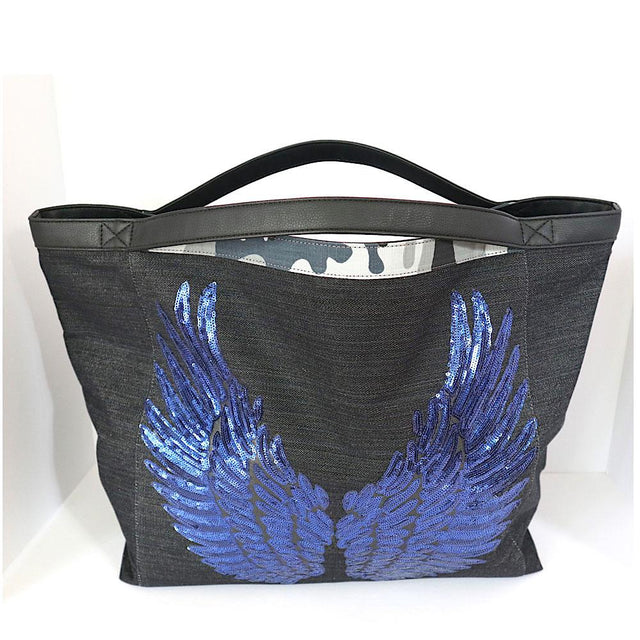 Black Denim Tote Bag (Blue Angel Wings)