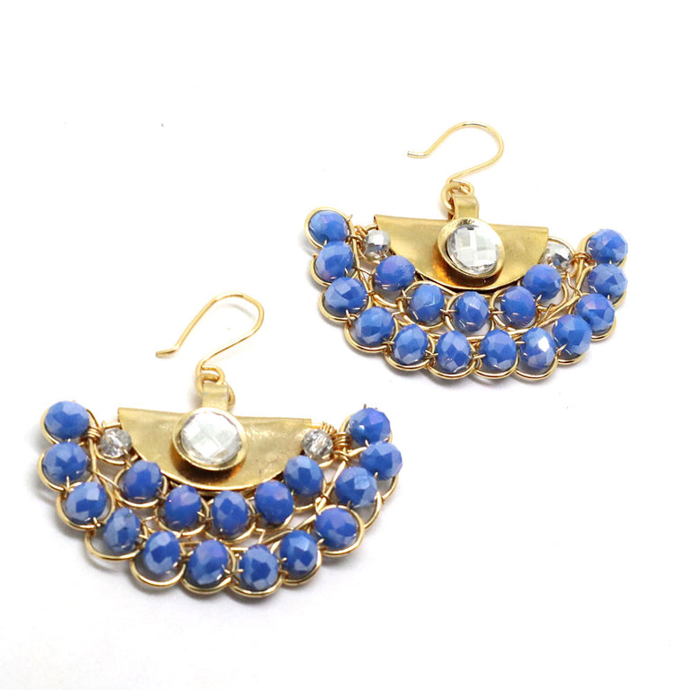 Gold Plated Blue Drop Earrings