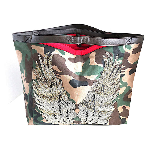 Camo Tote Bag With Gold Wings-SALE