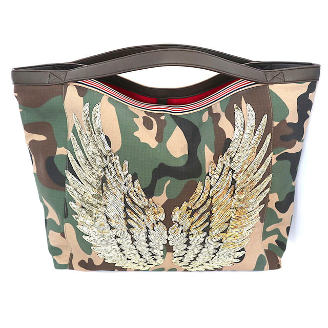"TOTE Bag Camo ""Gold Angel Wings"" Stripe"