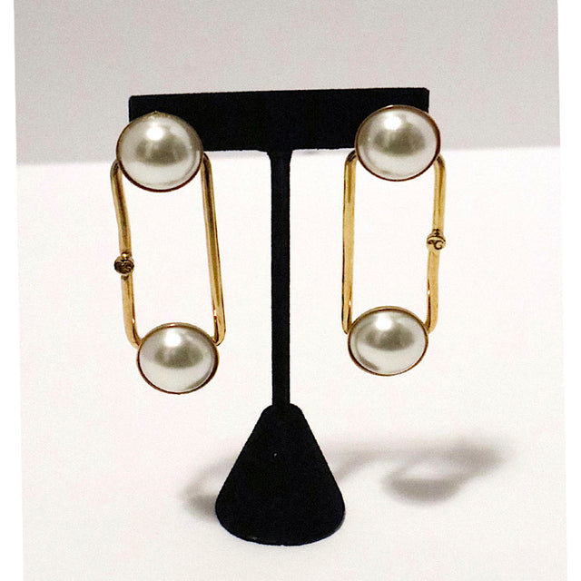 Pearl Gold Plated Tube Earrings