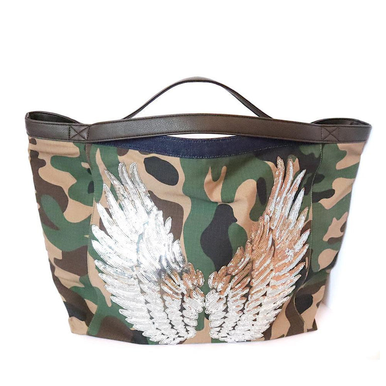 "TOTE Bag Dark Denim ""Angel Silver Wings"" Camo"