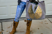 "TOTE Bag ""Angel Gold Wings"" Grey Jean"