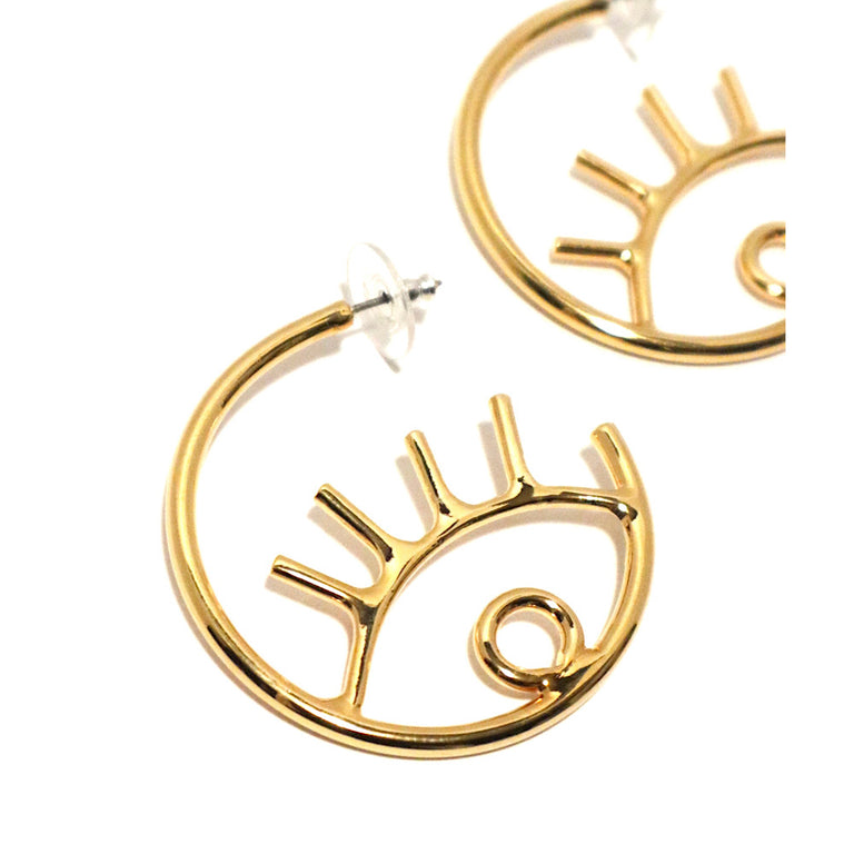 Gold Plated Circle Evil Eye Earrings