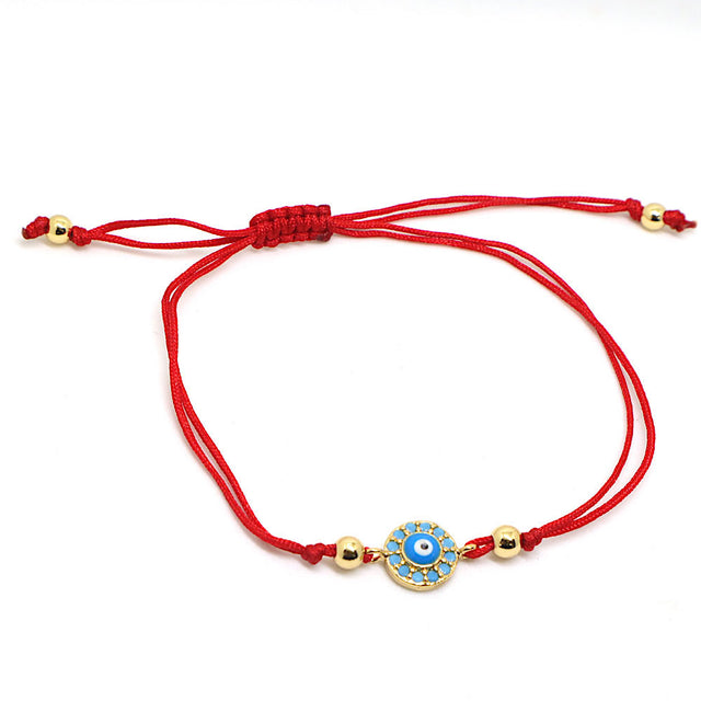 Adjustable Evil Eye Bracelet Red