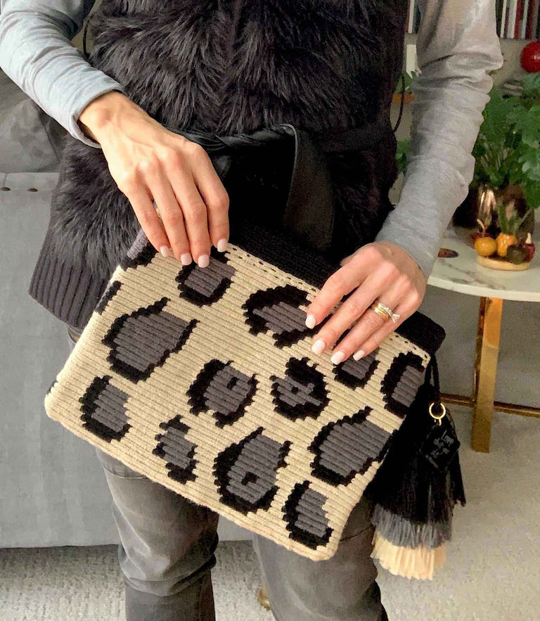 Woven Clutch Fold Over Grey Leopard Print