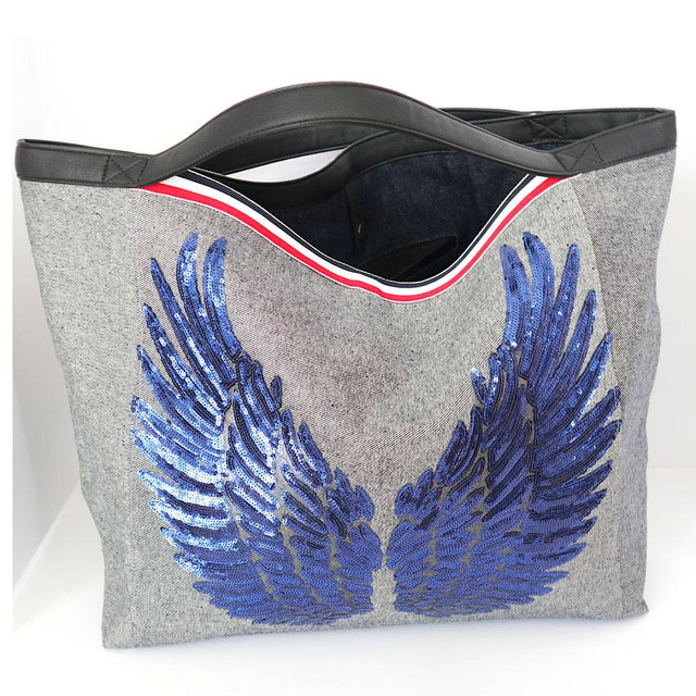 "TOTE Bag ""Angel Blue Wings"" Gray Denim"
