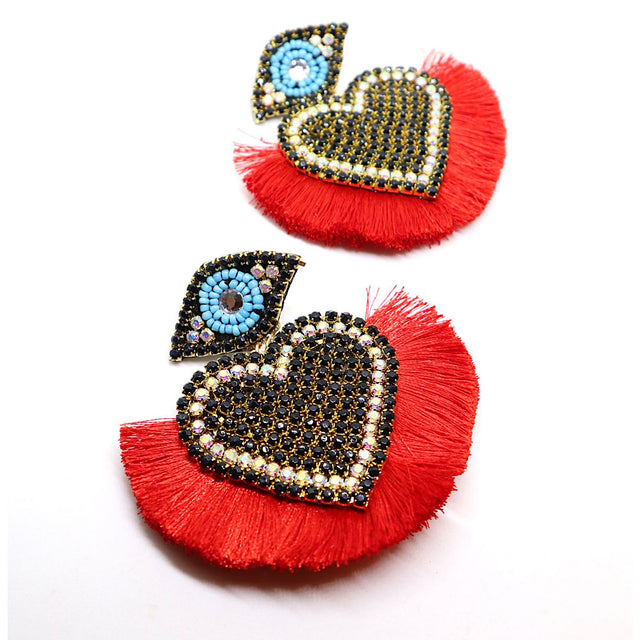 Hearts Evil Eye Red Earrings