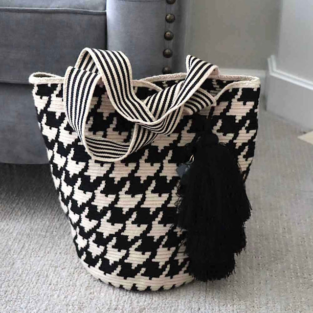 Woven Tote Bag Houndstooth