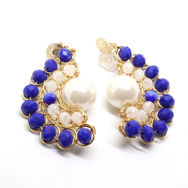 Gold Plated Navy Blue Pearl Drop Earrings