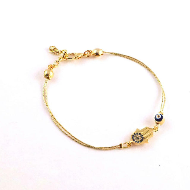 Gold Evil Eye and Hamsa Bracelet
