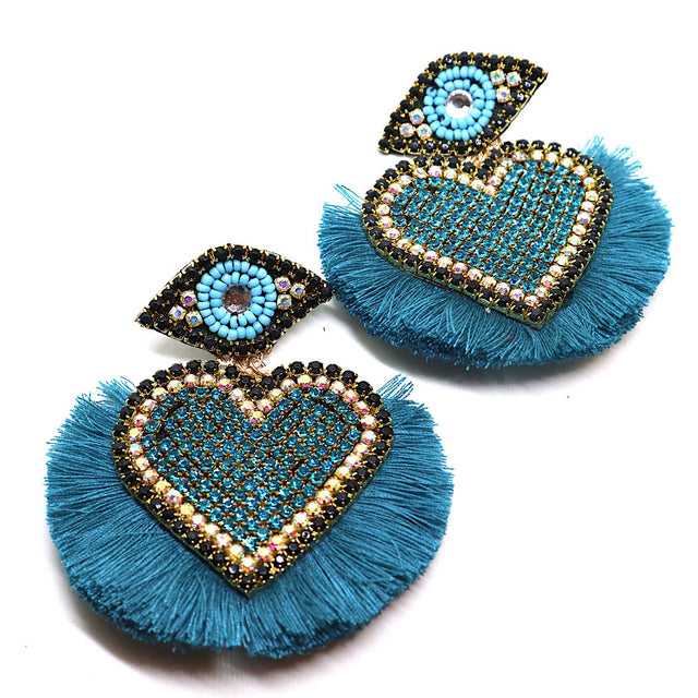 Hearts Evil Eye Turquoise Earrings