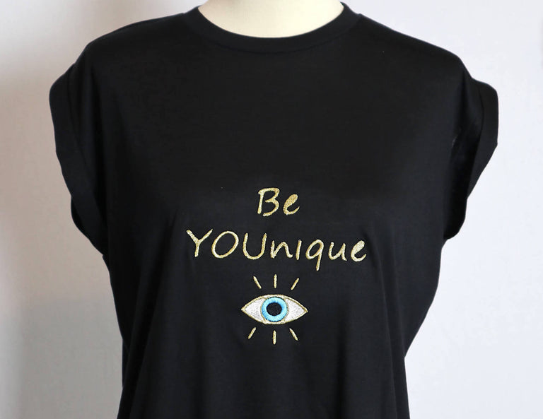BE YOUNIQUE Embroidered Flowy Muscle T-Shirt with Rolled Cuff-Black
