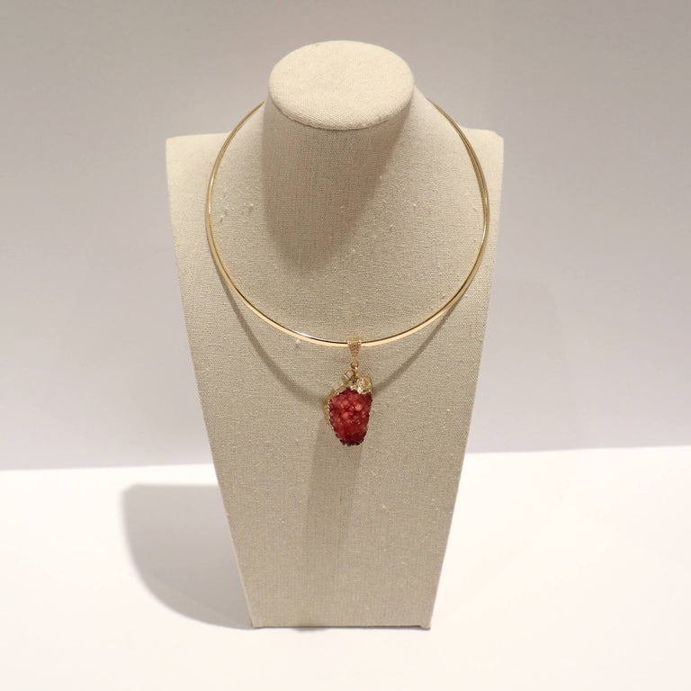 Gold Plated Chocker Necklace Red Pendant