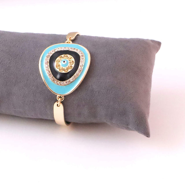 Evil Eye Turquoise Gold Plated Bracelet