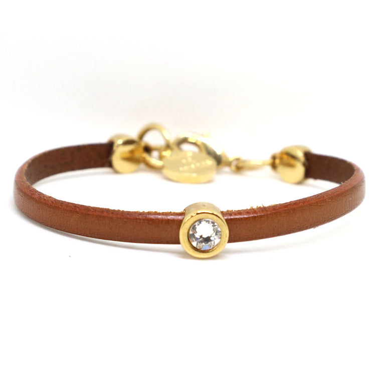 Brown Leather Stone Bracelet
