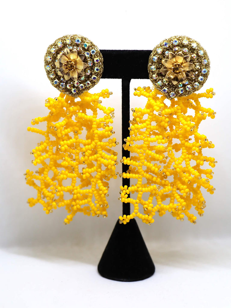 Coral Drop Yellow Earrings