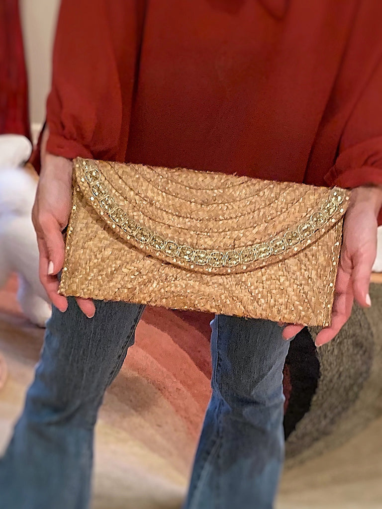 Palm Clutch Boho Gold