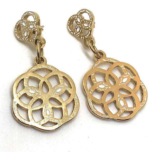 Mandala Earrings 24k Gold Plated- White