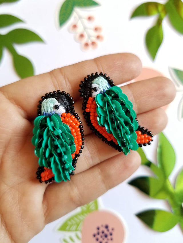 Green Tropical Bird Earrings