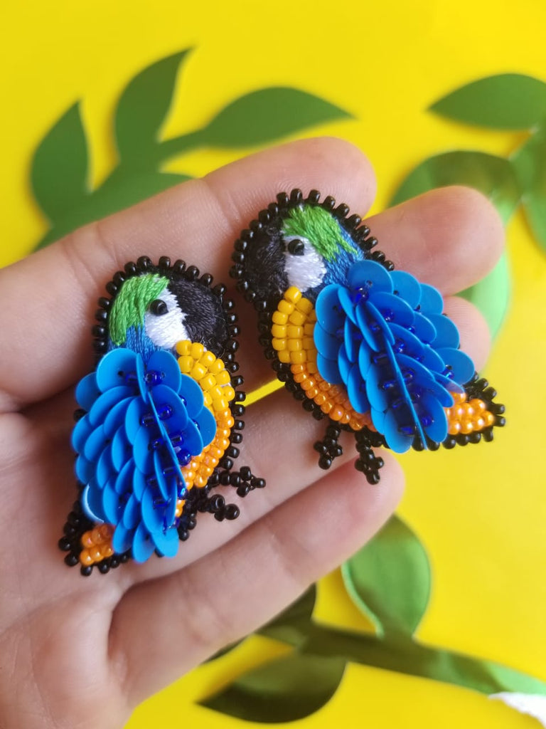 Blue Tropical Bird Earrings