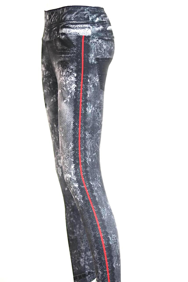 Black Flower Pattern Red Stripe Jean Look Leggings