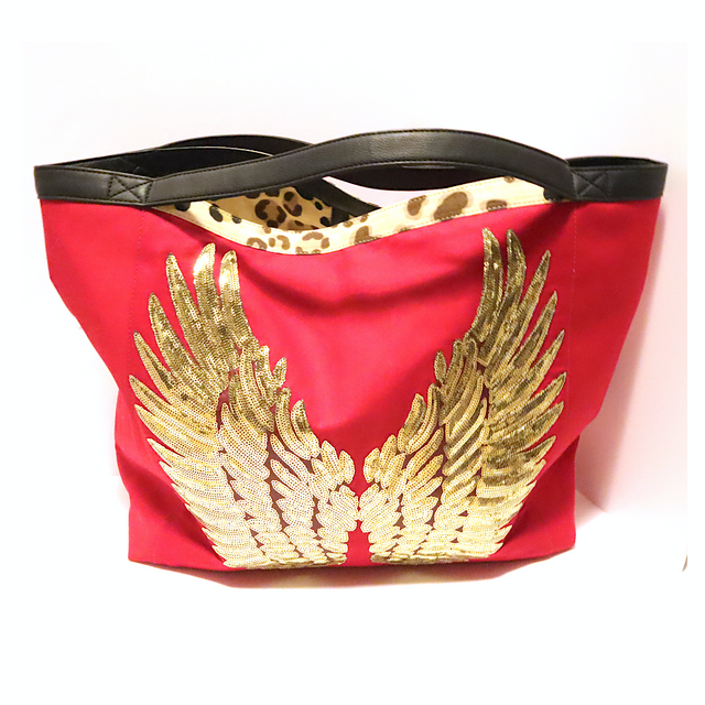 "Cheetah Red TOTE Bag ""Gold Angel Wings"""
