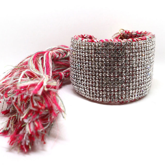 "Red Silver ""Sparkles"" Woven Bracelet Cuff"