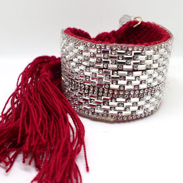 "Red ""Bling"" Woven Bracelet Cuff"