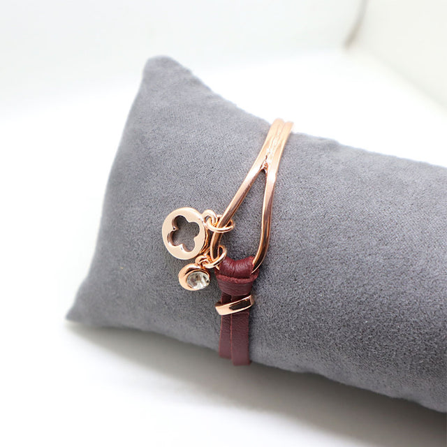 Red Leather Rose Gold Bracelet