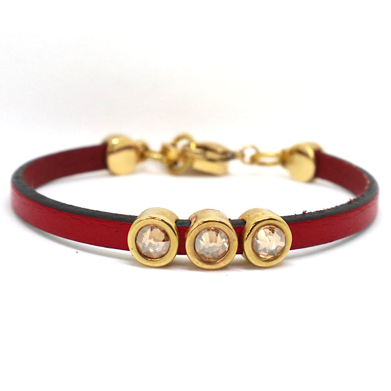 Red Leather Stone Yellow Bracelet