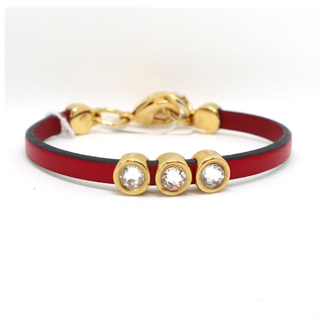Red Leather Stone Bracelet