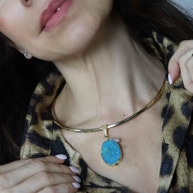 Gold Plated Chocker Necklace Blue Pendant -SALE