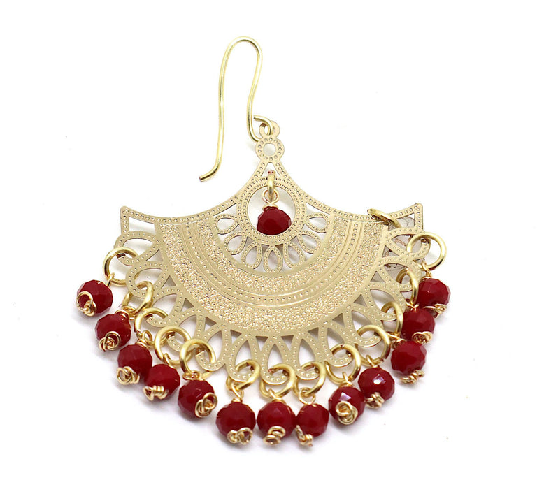 Gold Plated Red Drop Earrings