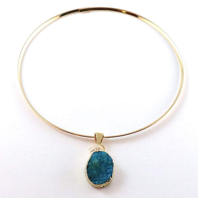 Gold Plated Chocker Necklace Blue Pendant