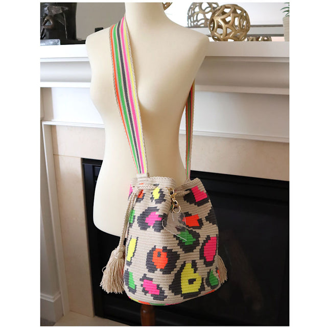 Wayuu Crossbody Neon Animal Print