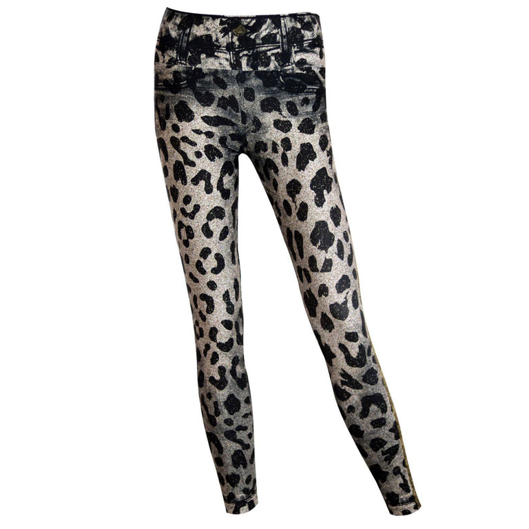 Animal Print Jean Look Leggings