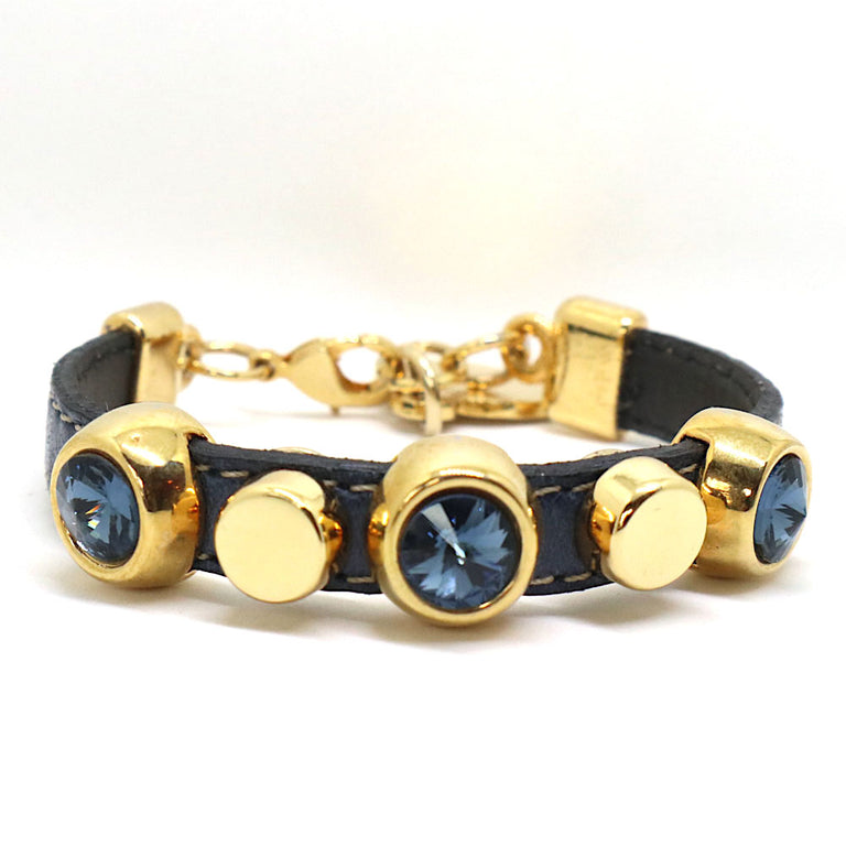 Navy Leather Glam Bracelet