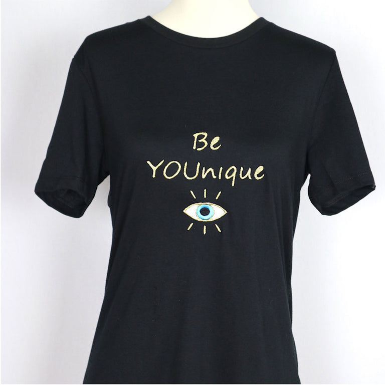 BE YOUNIQUE Embroidered Relaxed T-Shirt-Black