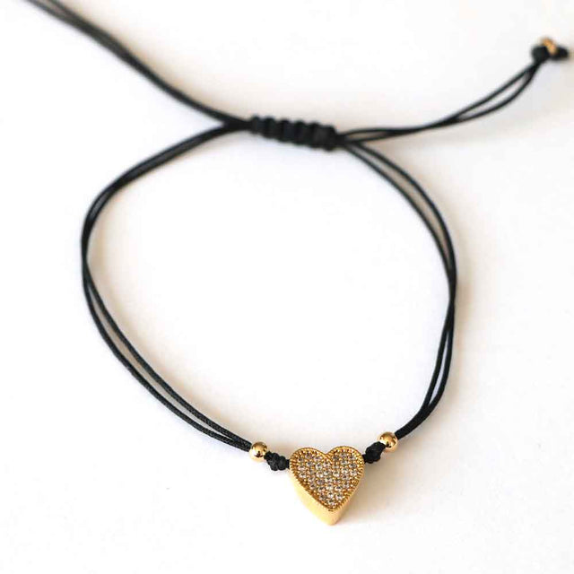 Bracelet Heart Gold Black Adjustable