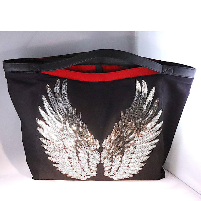 "TOTE  Travel ""Angel Silver Wings"" BLACK"