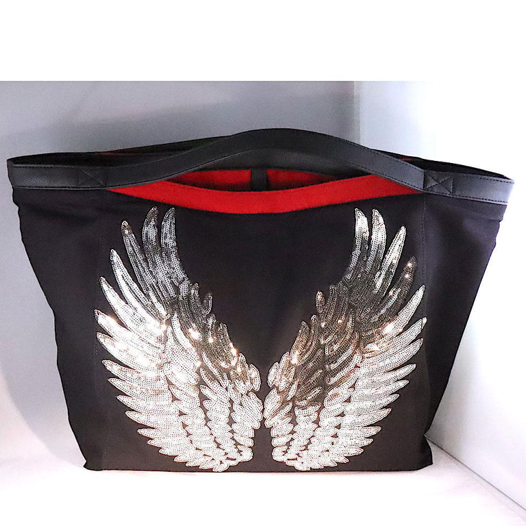 Black Tote Bag With Red Interior