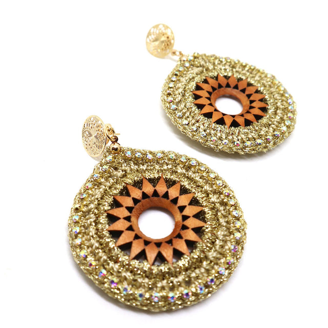 Round Crochet Gold Earrings