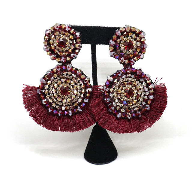 Drop Earrings Burgundy