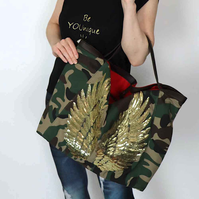 "Camo TOTE Bag ""Angel Gold Wings"""