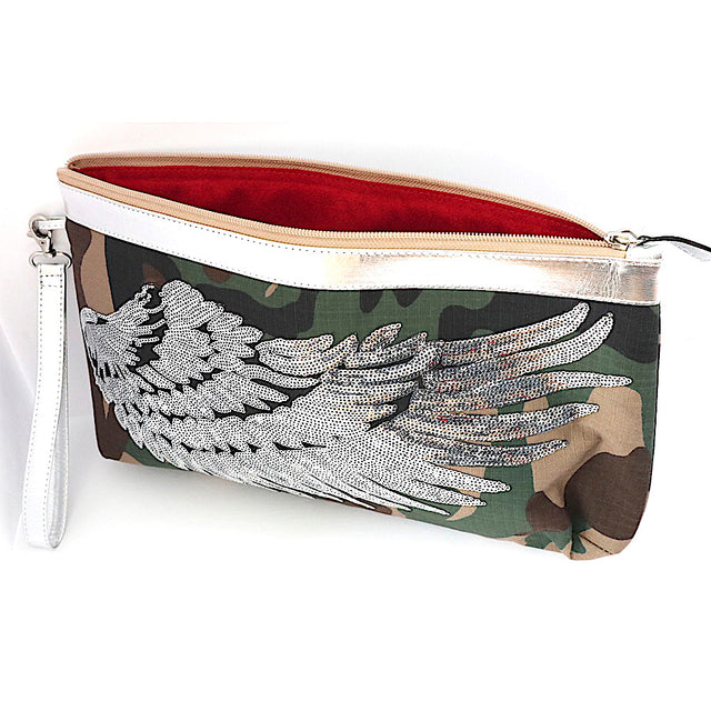 "Camo ""Angel Wings Silver"" Small Clutch"
