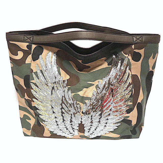 Camo Tote Bag With Gold Wings